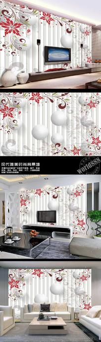 花卉图案白色圆球竖线3D时尚背景墙