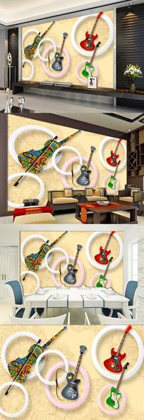 手绘音乐吉他3d立体圆圈背景墙