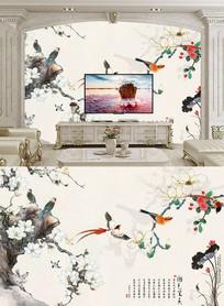 工笔花鸟背景墙
