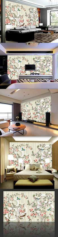 簡約花紋客廳裝飾畫背景墻