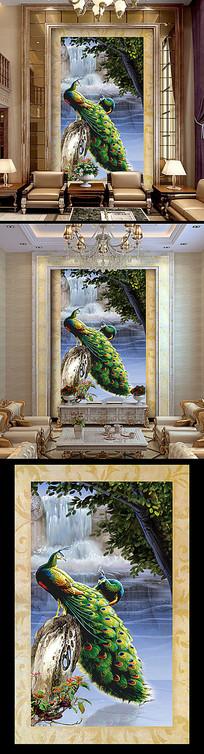 孔雀玄光背景装饰画玄关设计