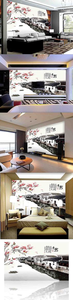 水墨江南装饰画背景墙