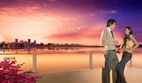湖水晚霞情侣浪漫底图