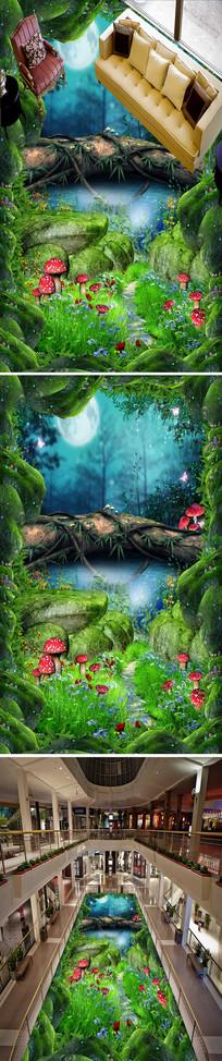 幽暗森林流水立体地画