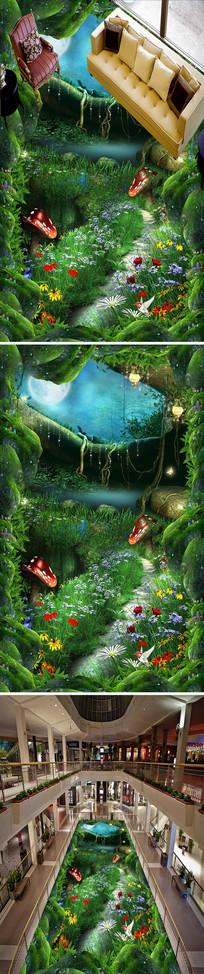幽暗小路森林立体3D地画