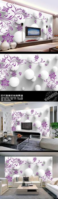 紫色花卉装饰纹饰立体球体3D时尚背景墙