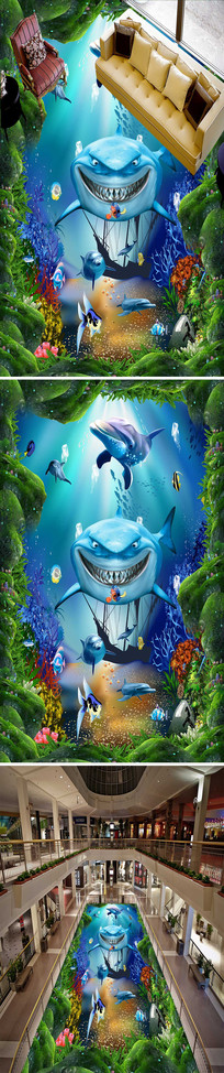 3D海底世界海豚立体地板地画