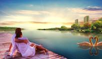 浪漫天鹅湖水地产底图背景