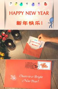 新年快乐动画手绘电子贺卡写信封视频