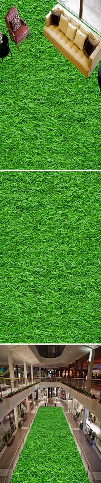 植物花卉绿色草丛草地3D地板地画