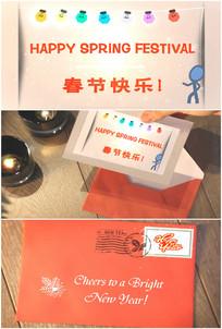 春节快乐祝福英文手绘电子贺卡信封视频