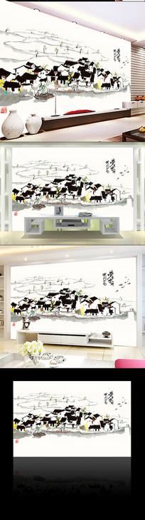 水墨江南背景墙装饰画