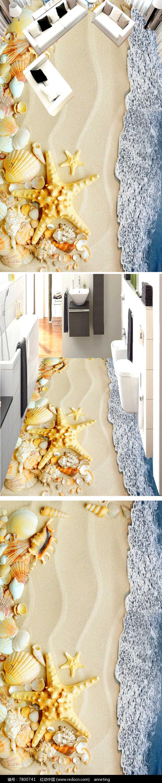 浴室海洋沙滩地板瓷砖贴图
