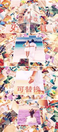 时尚堆叠照片折叠打开相册片头模板