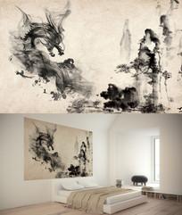 中国风水墨龙背景墙