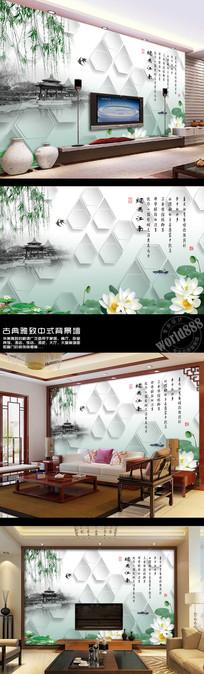 荷塘荷花烟雨江南时尚中式背景墙