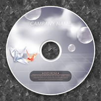 3D纸鹤可爱商务cd封面设计
