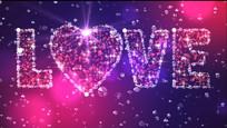 爱心LOVE紫色婚庆视频素材