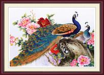 国画孔雀房间装饰框画