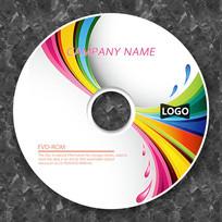 七彩线条曲线创意cd封面设计
