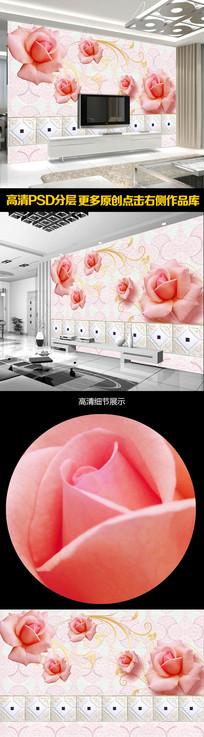 现代简约装饰玫瑰电视背景墙