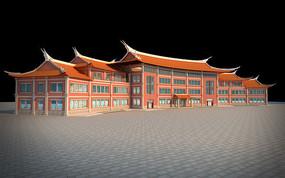 福建泉州碧煌经贸商业街店铺3dmax模型下载