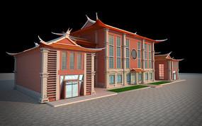福建泉州碧煌经贸商业街店铺店面3DMAX模型下载