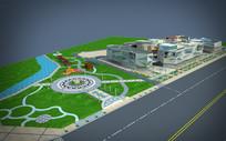 石文化博览馆商业楼景观max模型下载