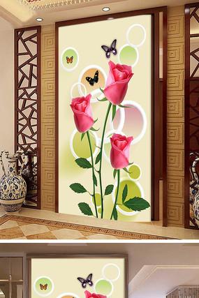 立体玫瑰花玄关背景墙