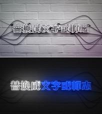 霓虹灯光闪烁logo标志开场片头模板