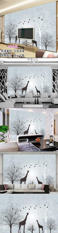 现代简约手绘抽象树鹿沙发背景墙图片