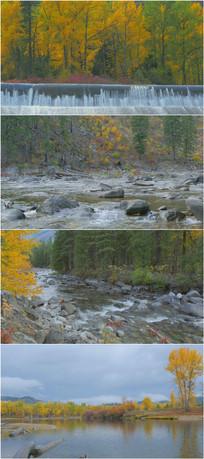 4K超清秋天河流美景欣赏实拍素材