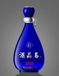 白酒瓶蓝色包装设计