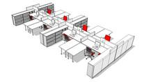 办公桌椅设计SU模型