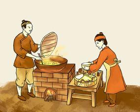 古代夫妇灶台生火做饭油炸食物插画