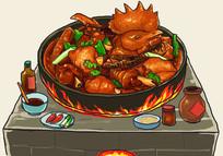 灶台传统方法炖鸡炒鸡美味插画