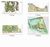 居住小区景观设计手绘彩色平面