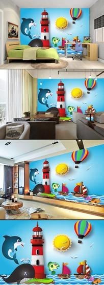 卡通手绘鲨鱼儿童房背景墙图片