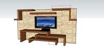 草图电视背景墙模型SKP设计