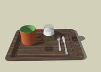 家庭家用水杯餐具托盘SU模型