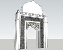 伊斯兰柱廊景观草图大师SKP模型