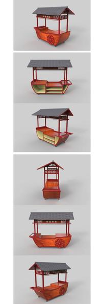 中式木质售货亭购物车SKP模型