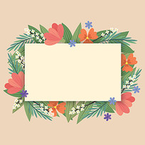 温馨提示植物边框花纹图案