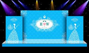 大气蓝色主体婚礼婚庆舞台迎宾区背景