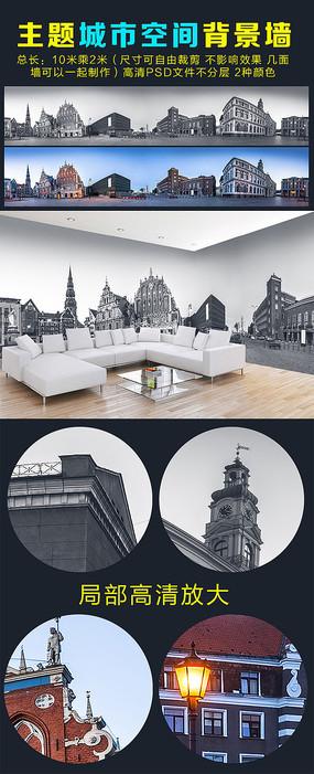 巨幅欧美城市风光黑白风景背景墙壁画