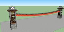 苗族塔楼铁索桥模型