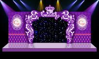 大气唯美紫色婚礼婚庆舞台背景