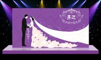 浪漫紫色婚礼舞台背景设计