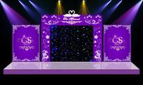 梦幻华丽主题紫色婚礼婚庆舞台背景