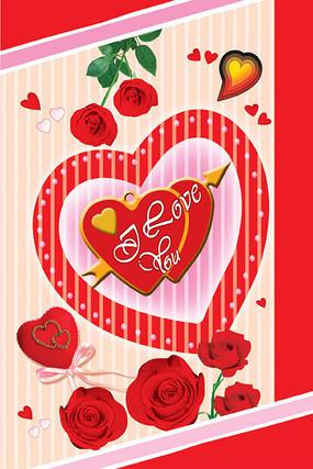爱心红玫瑰情人贺卡psd